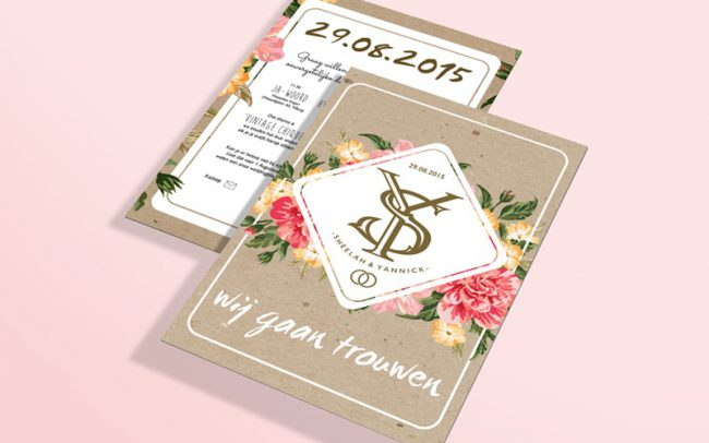 Weddingcard invitation Sheelah Yannick